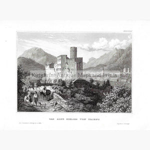 Antique Print Trient Castle 1859 Prints
