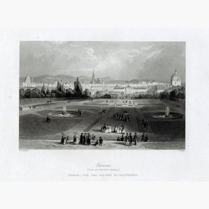 Antique Print Vienna,1840iew from the Belvedere Gardens Prints