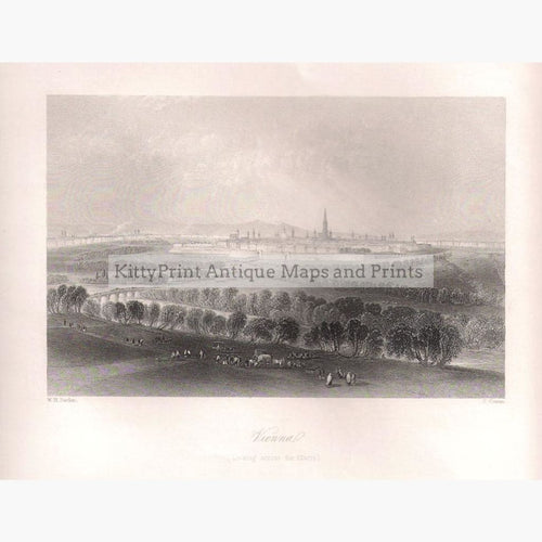 Antique Print Vienna Looking Across the Glacis,1840
