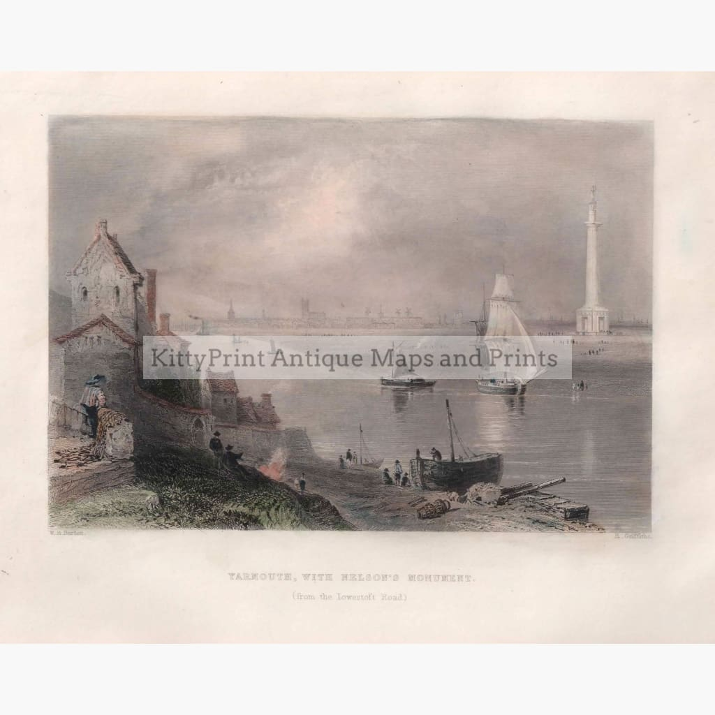 Antique Print Yarmouth With Nelsons Monument 1842 Prints