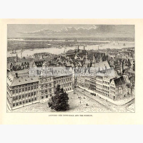 Antwerp 1875 Prints KittyPrint 1800s Castles & Historical Buildings Netherlands & Belgium Townscapes