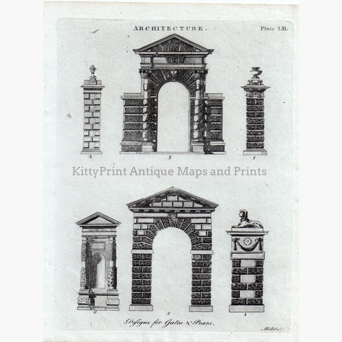 Architecture. Designs For Gates & Pears C.1790 Prints