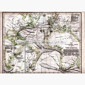 Atlantic Ocean Karte von Atlantischen Ocean c.1850. Maps KittyPrint 1800s Sea Charts World Maps
