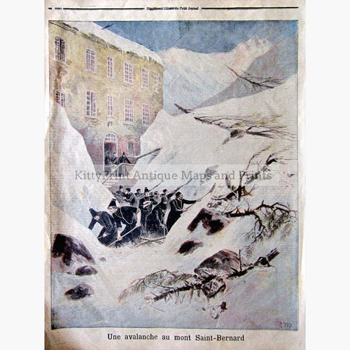 Avalanche 1897 Prints KittyPrint 1800s Genre Scenes Landscapes Switzerland