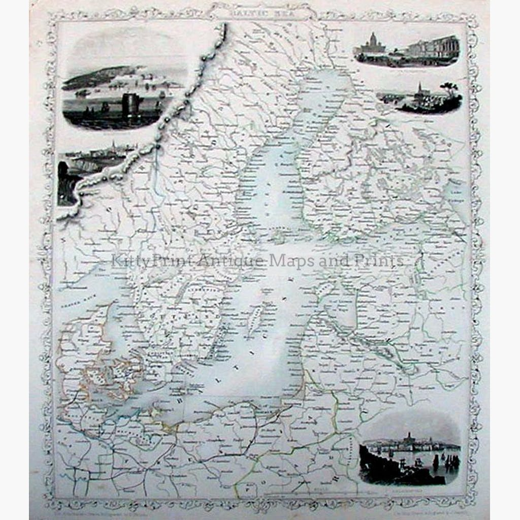 Baltic Sea 1845 Maps KittyPrint 1800s Norway Russia Scandinavia & Nordic Countries
