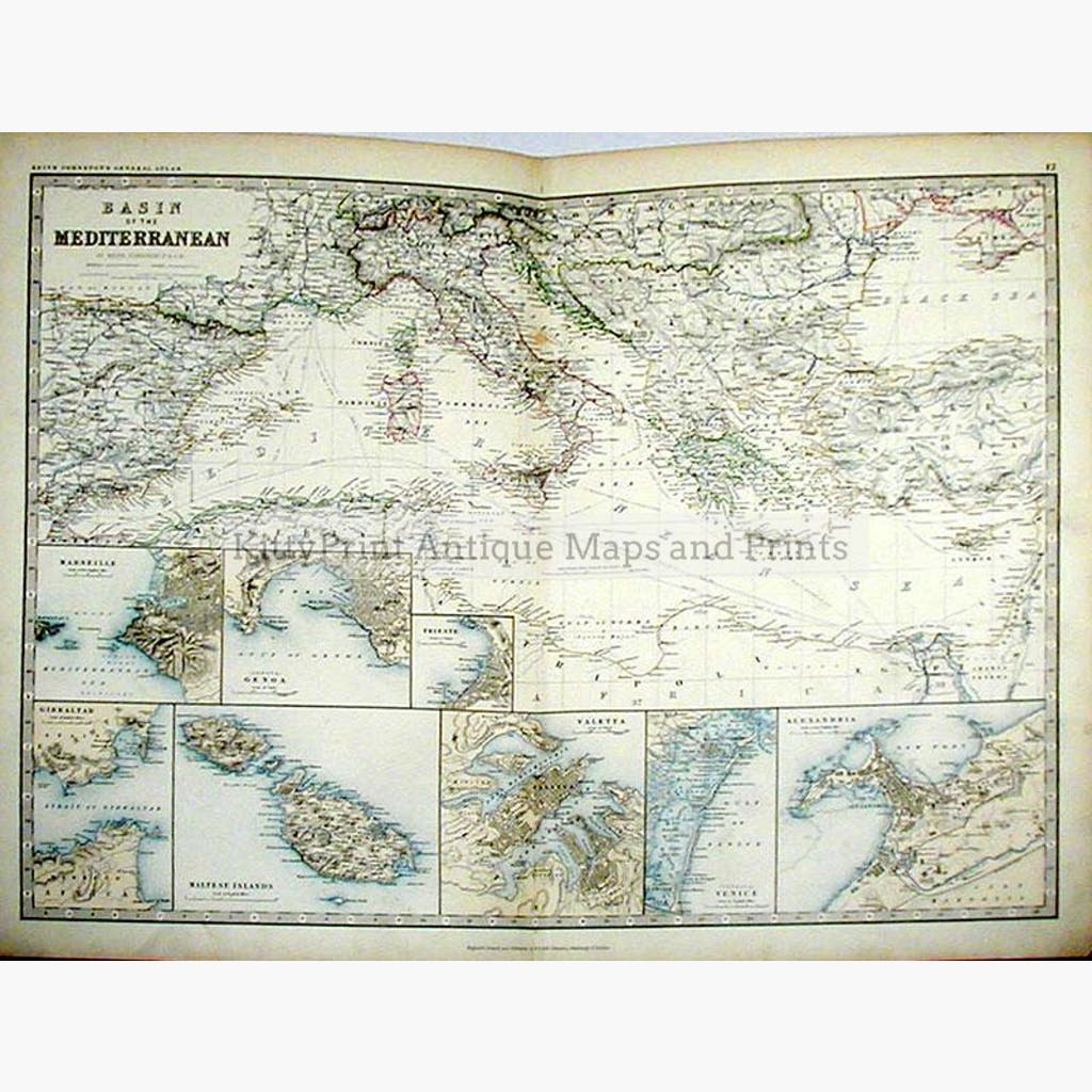 Basin Of The Mediterranean KittyPrint - 1800s world map
