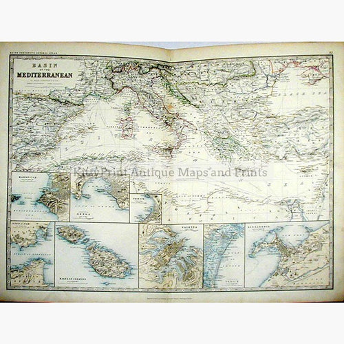Basin of the Mediterranean 1877 Maps KittyPrint 1800s Arabia & Egypt Greece Islands Italy Sea Charts Spain & Portugal World Maps