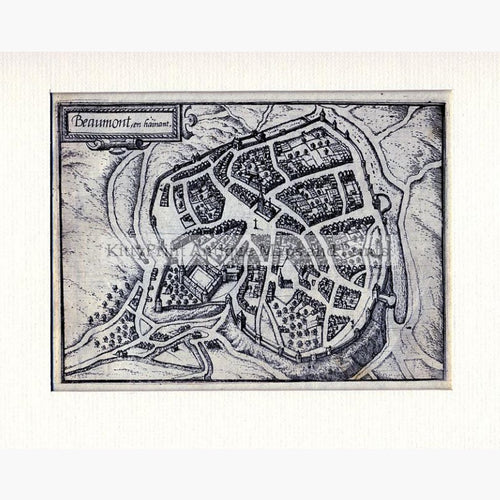 Beaumont in Hainaut c.1695 Maps KittyPrint 1600s Battles Wars & Fortifications Netherlands & Belgium