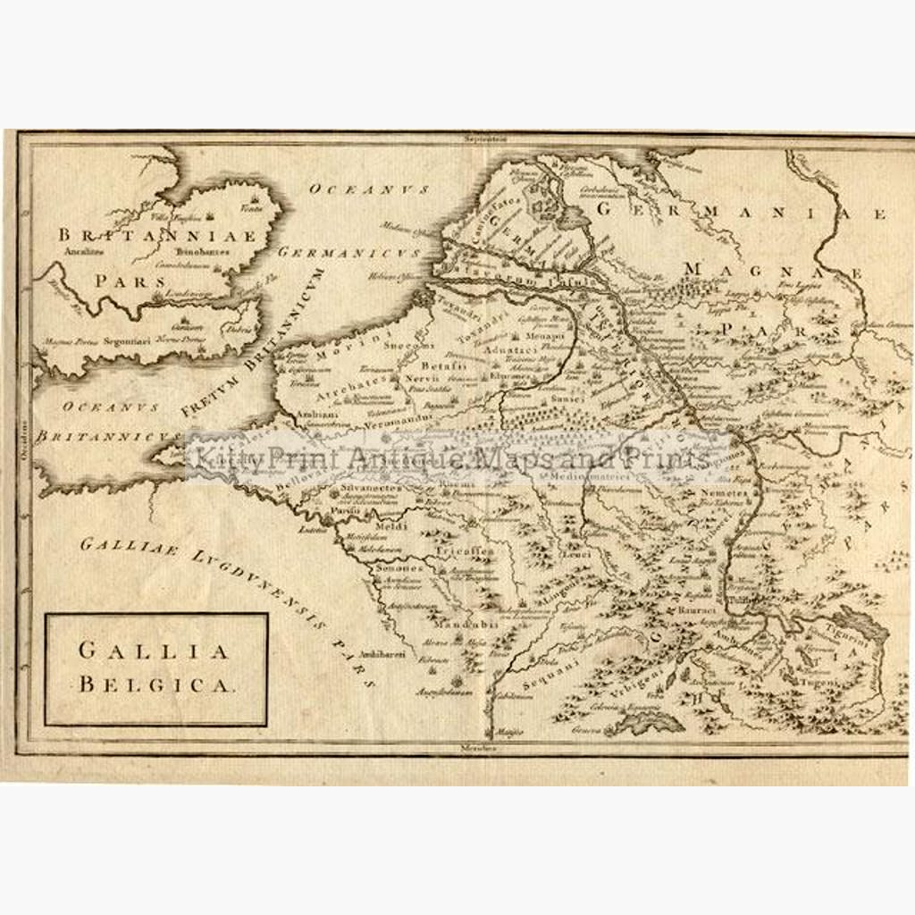 Belgium Gallia Belgica 1760 Maps KittyPrint 1700s Civilizations & Empires Netherlands & Belgium