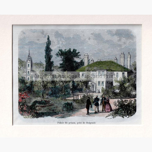 Belgrade Palais du prince  1876 Prints KittyPrint 1800s Castles & Historical Buildings Eastern Europe Genre Scenes