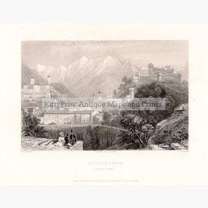 Bellinzona 1835 Prints KittyPrint 1800s Landscapes Switzerland Townscapes