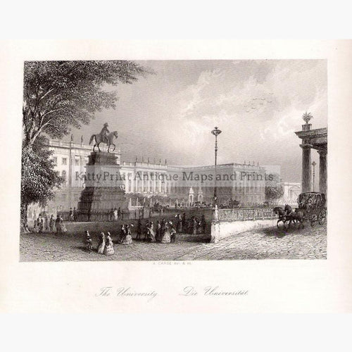 Berlin The University c.1850 Prints KittyPrint 1800s Castles & Historical Buildings Genre Scenes Germany