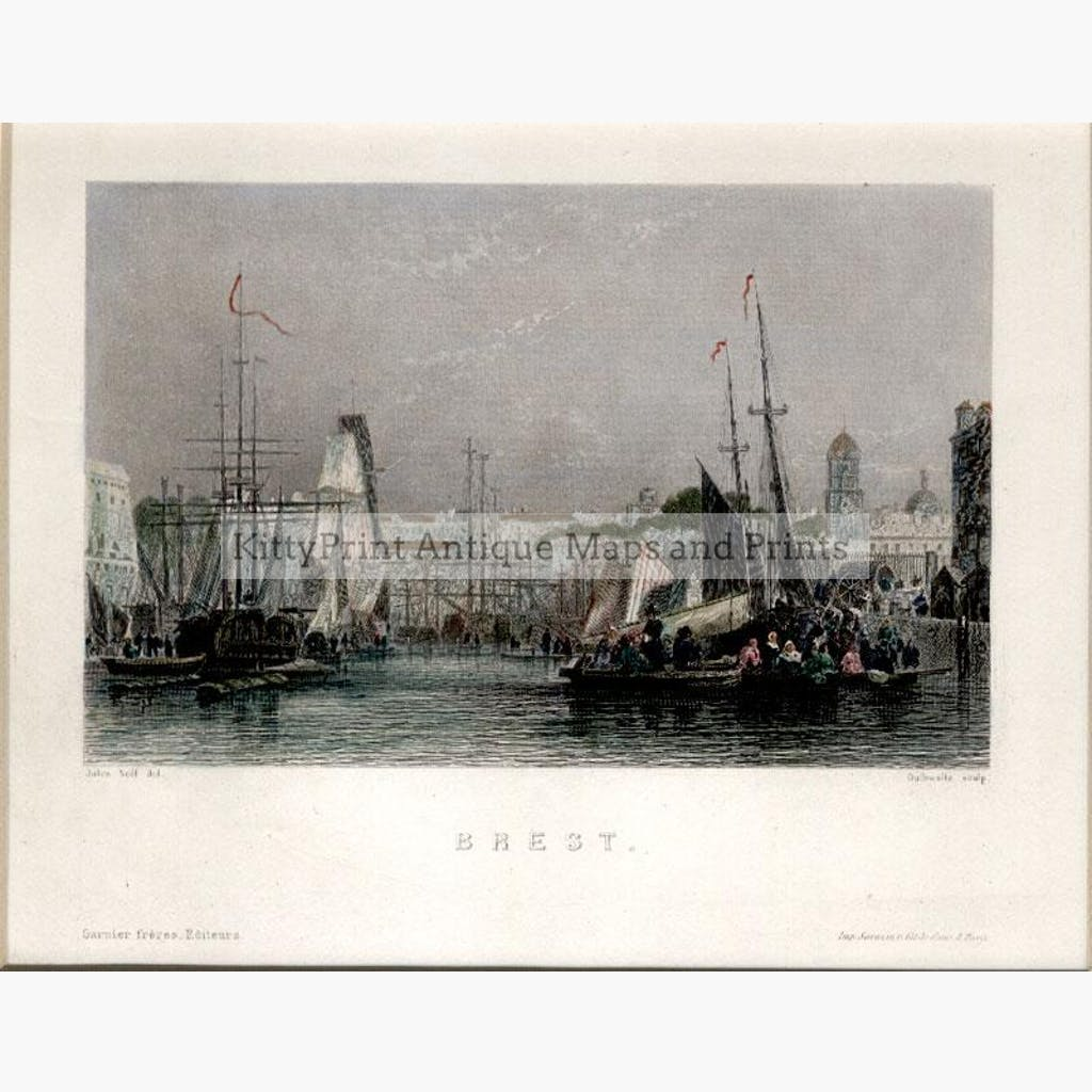 Brest c.1840 Prints KittyPrint 1800s France Seascapes Ports & Harbours