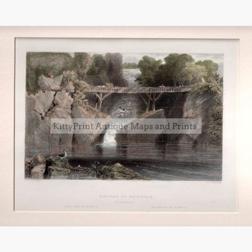 Bridge At Norwich Connecticut 1839 Prints