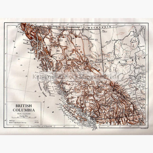 British Columbia 1910 Maps KittyPrint 1900s Canada & United States