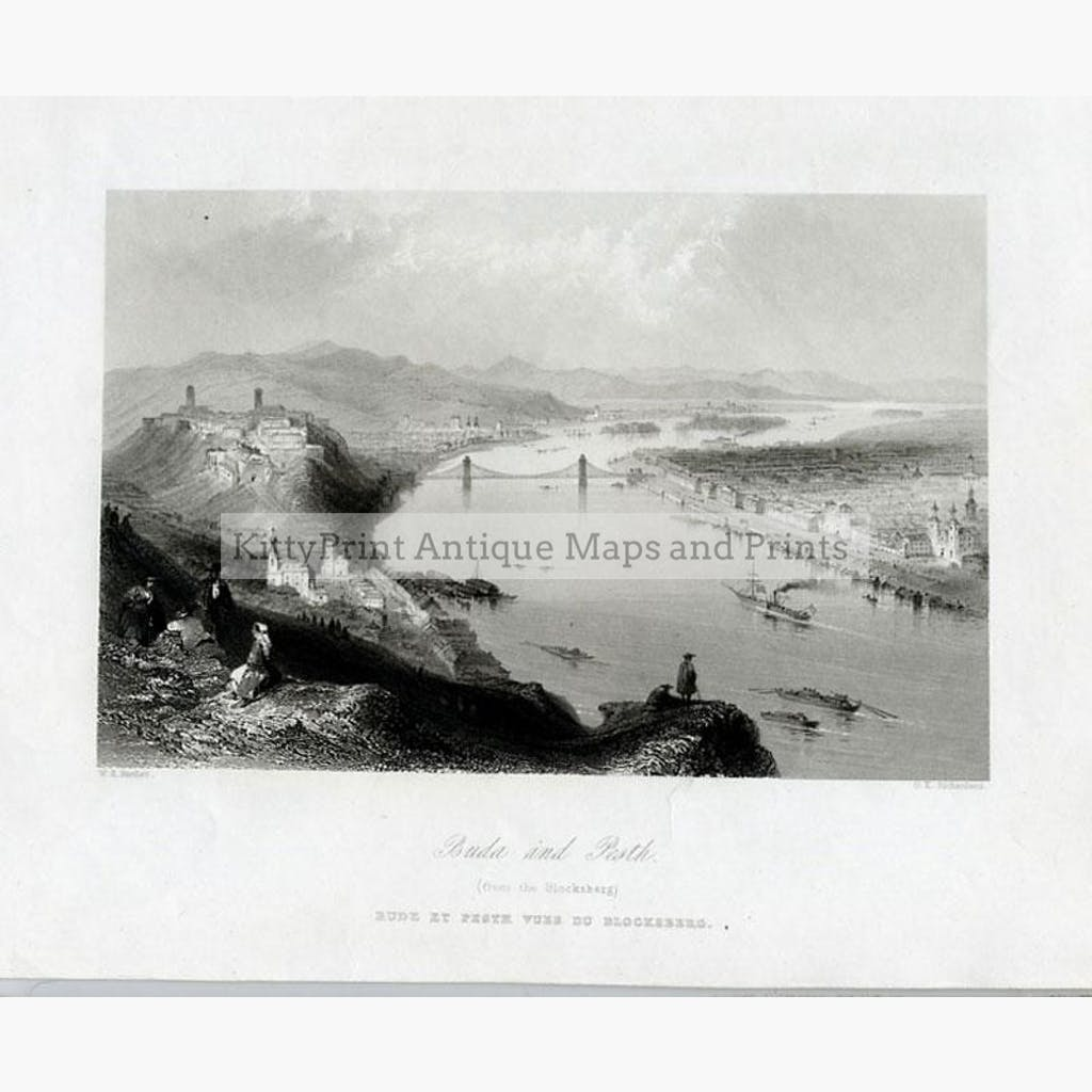 Buda and Pesth from the Blocksberg c.1840 Prints KittyPrint 1800s Castles & Historical Buildings Eastern Europe Genre Scenes