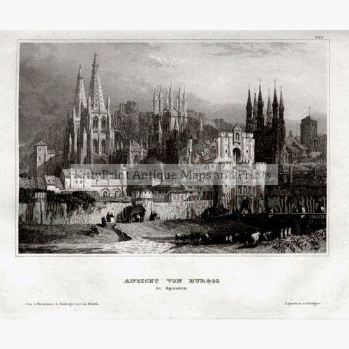 Burgos Ansicht von Burgos 1859 Prints KittyPrint 1800s Spain & Portugal Townscapes