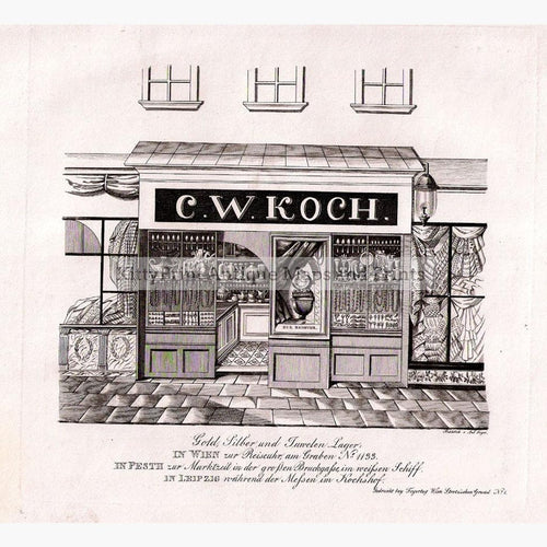 C.W.Koch Gold Silver and Jewellery Shop 1836 Prints KittyPrint 1800s Austria