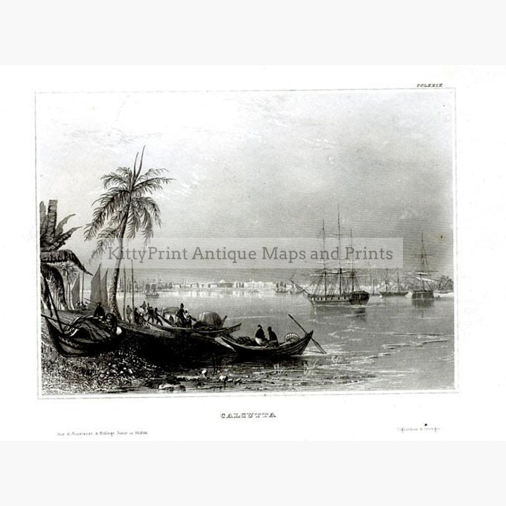 Calcutta c.1840 Prints KittyPrint 1800s India & East Indies Landscapes Seascapes Ports & Harbours