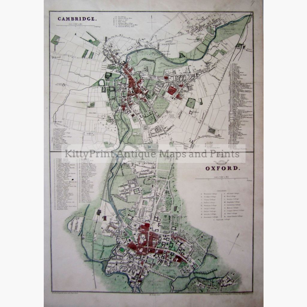 Cambridge. Oxford 1863 Maps