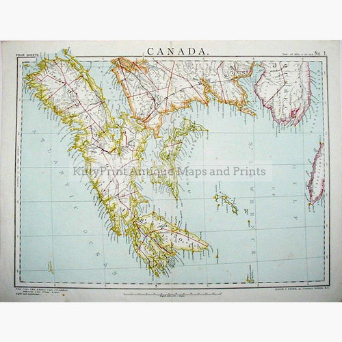 Canada 1883 Maps KittyPrint 1800s Canada & United States