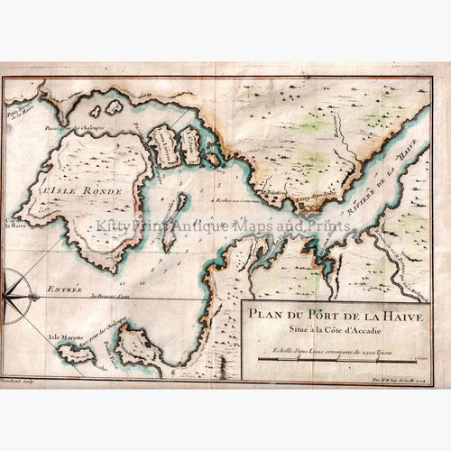 Canada Accadie. Plan du Port de la Haive 1744 Maps KittyPrint 1700s Canada & United States