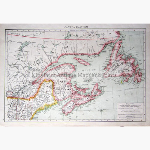 Canada Eastern 1895 Maps KittyPrint 1800s Canada & United States