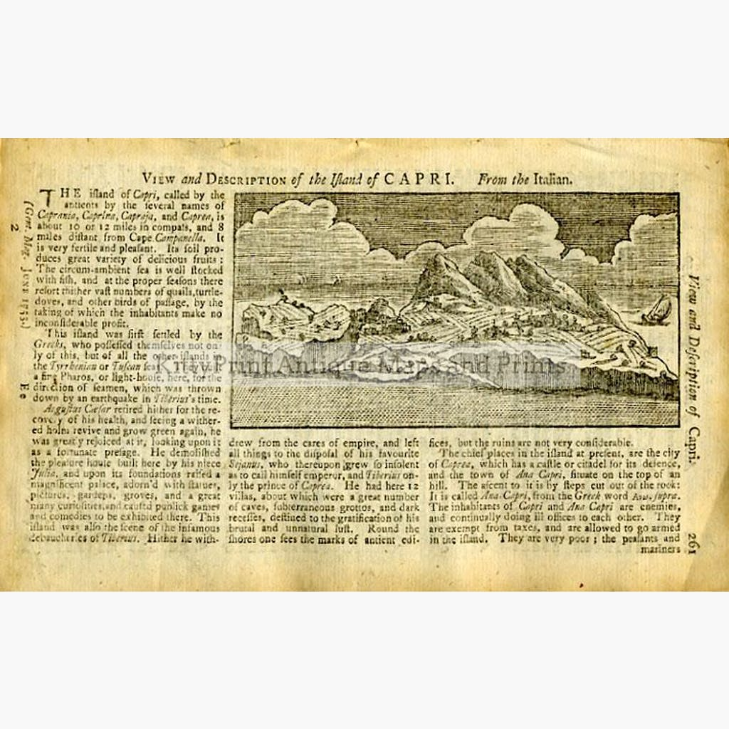 Capri View and Description 1753 Prints KittyPrint 1700s Italy Landscapes