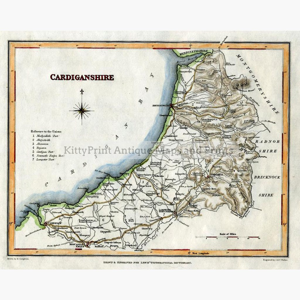 Cardiganshire 1842 Maps KittyPrint 1800s Wales