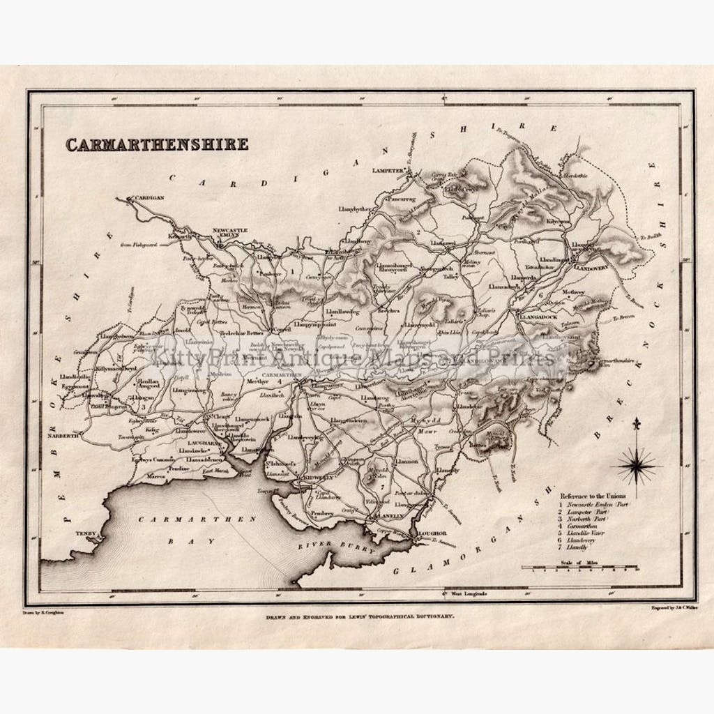 Carmarthenshire 1835 Maps KittyPrint 1800s Wales
