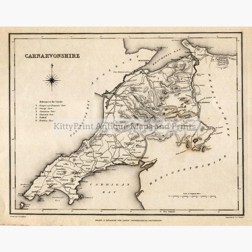 Carnarvonshire 1840 Maps KittyPrint 1800s Wales