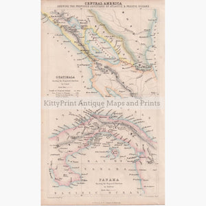 Central America Guatimala Panama 1856 Maps KittyPrint 1800s Central & Latin America Road Rail & Engineering Sea Charts