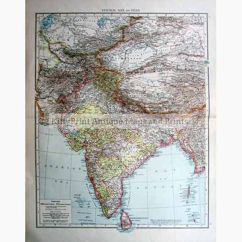 Central Asia and India 1895 Maps KittyPrint 1800s India & East Indies