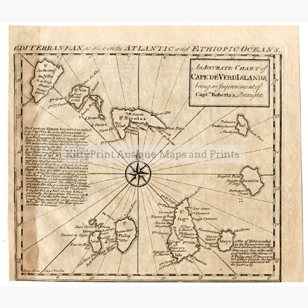 Chart of Cape Verd Islands 1747 Maps KittyPrint 1700s Sea Charts