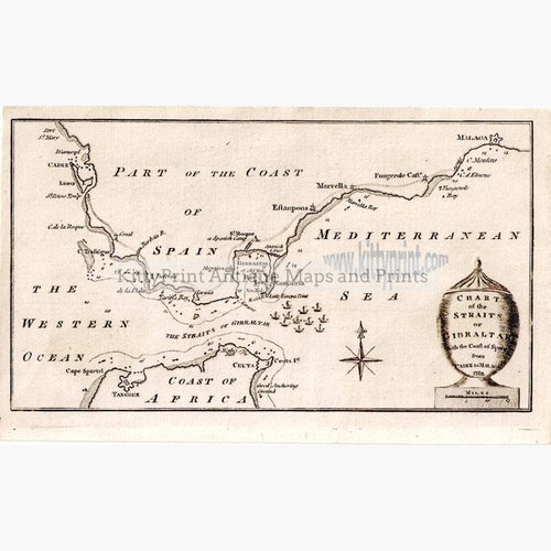 Chart of the Straits of Gibraltar 1782 Maps KittyPrint 1700s Africa Military Sea Charts Spain & Portugal