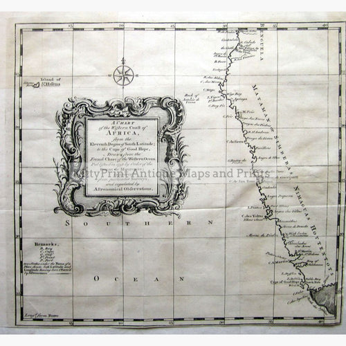 Chart Of Western Africa To The Cape Good Hope 1738. Maps