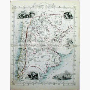 Chili and La Plata c.1850 Maps KittyPrint 1800s Central & Latin America