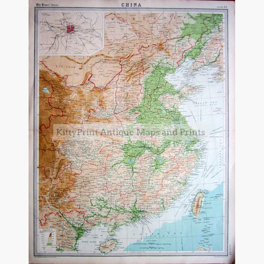 China 1922 Maps KittyPrint 1900s China Japan & Korea