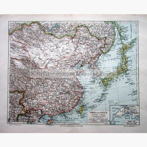 China and Japan 1904 Maps KittyPrint 1900s China Japan & Korea