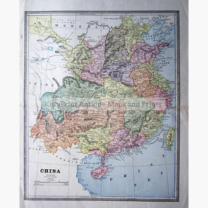 China c.1898 Maps KittyPrint 1800s China Japan & Korea Population Statistics