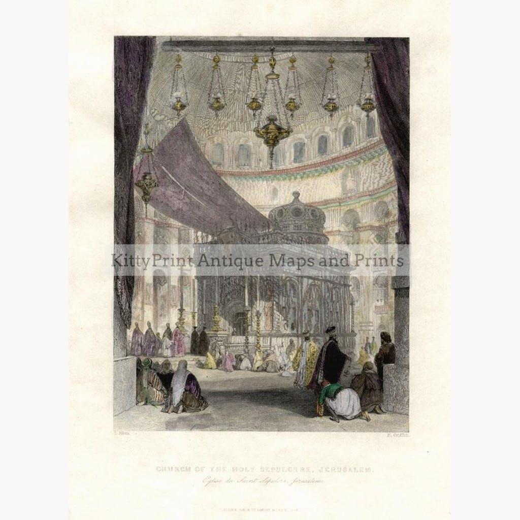 Church of the Holy Sepulchre Jerusalem 1846 Prints KittyPrint 1800s Genre Scenes Holy Land Religion