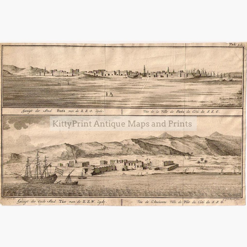 City of Suez and Ancient City of Tor. Prints KittyPrint 1700s Arabia & Egypt Seascapes Ports & Harbours Townscapes