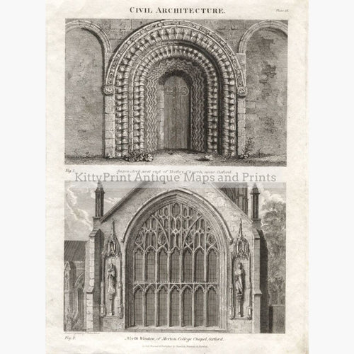 Civil Architecture Saxon Arch Merton College C.1800 Prints