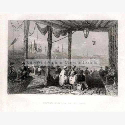 Coffee Kiosque on the Port c.1840 Prints KittyPrint 1800s Genre Scenes Ottoman Turkey & Persia