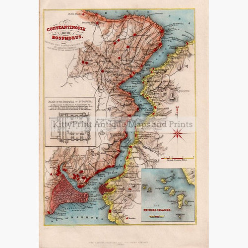 Constantinople and the Bosphorus c.1850 Maps KittyPrint 1800s Ottoman Turkey & Persia Sea Charts Seascapes Ports & Harbours