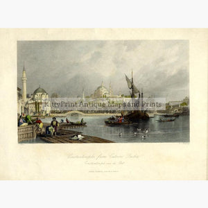 Constantinople from Cassim Pacha 1838 Prints KittyPrint 1800s Ottoman Turkey & Persia Seascapes Ports & Harbours Townscapes