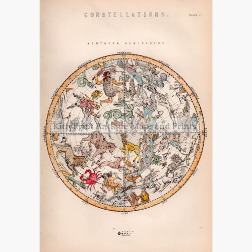 Constellations. Northern Hemisphere 1881 Maps