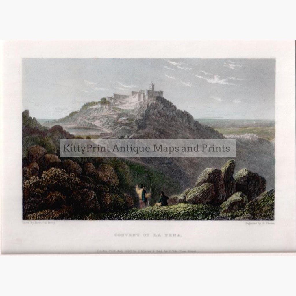 Convent of La Pena 1832 Prints KittyPrint 1800s Landscapes Spain & Portugal