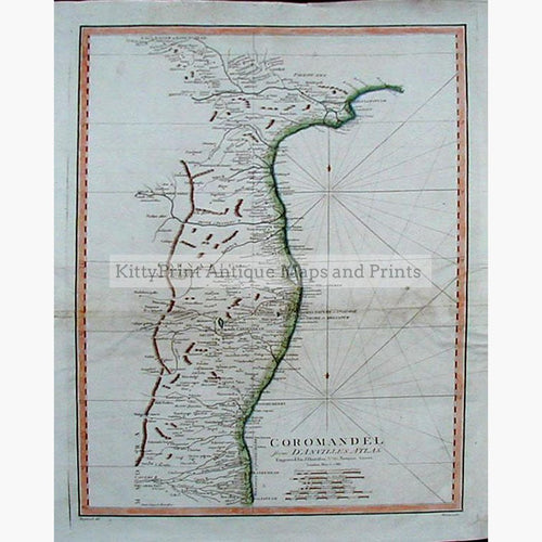 Coromandel 1788 Maps KittyPrint 1700s India & East Indies