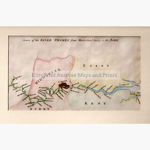 Course Of The River Thames From Maidenhead Bridge To Nore 1795 Maps